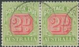 Australia Postage Due SG D65 2d Rosine and Yellow Green pair (ADGU/380)
